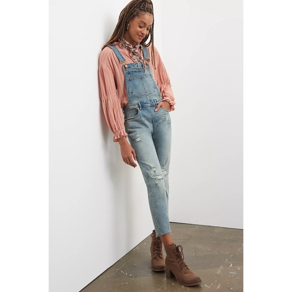 Blank NYC Josey Denim Distressed Overalls size 28